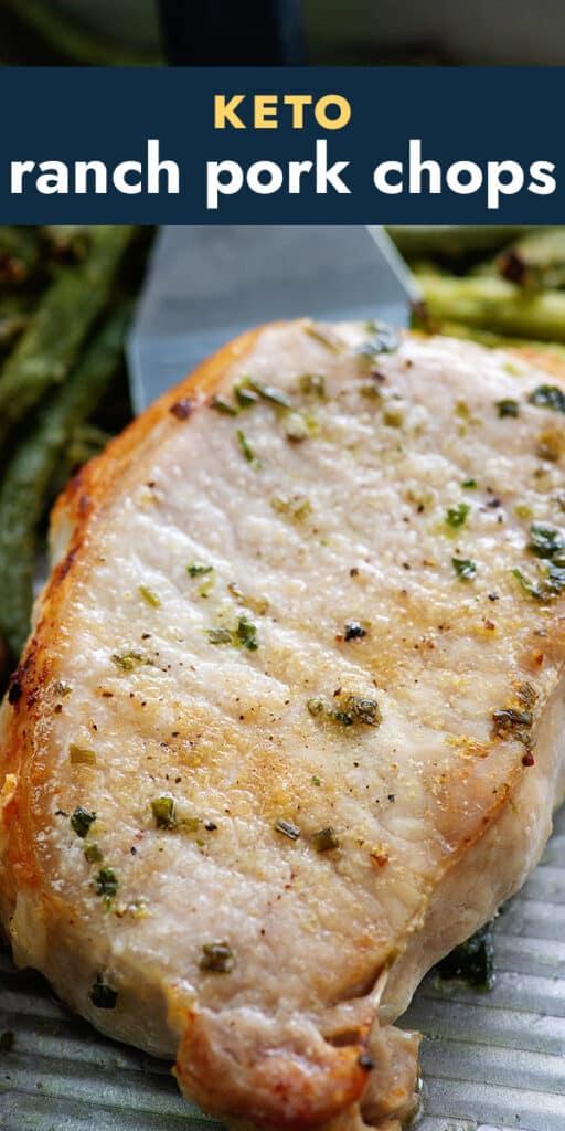 keto ranch pork chop on sheet pan.
