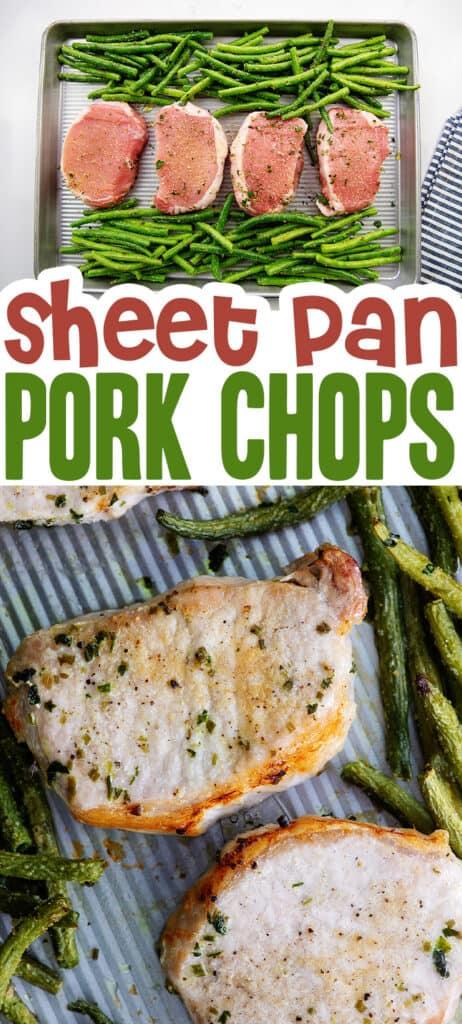 collage of sheet pan pork chops images.