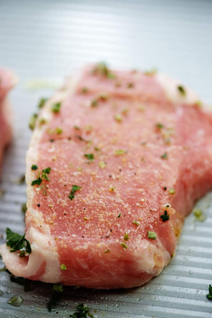 pork chop seasoned with ranch.