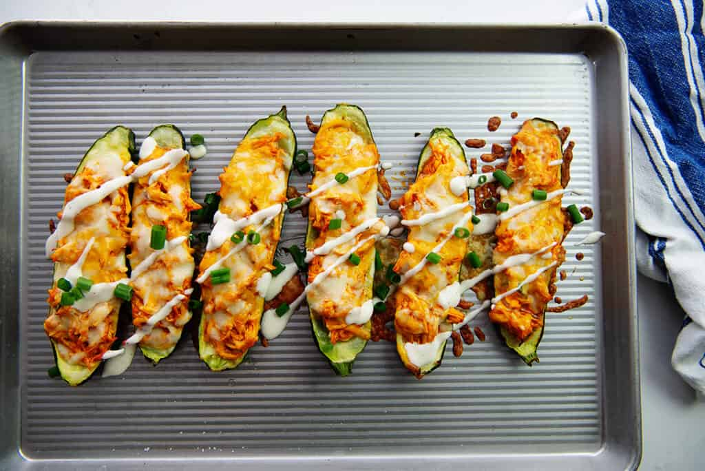 overhead view of zucchini boats on sheet pan.