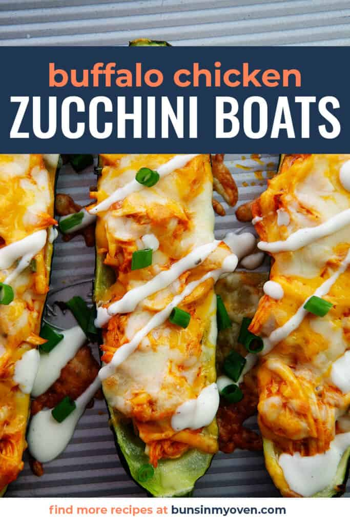 buffalo chicken zucchini boats on sheet pan.