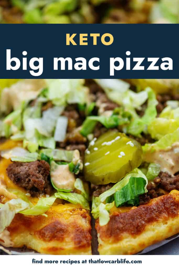 Big Mac Pizza topped with lettuce and pickles.
