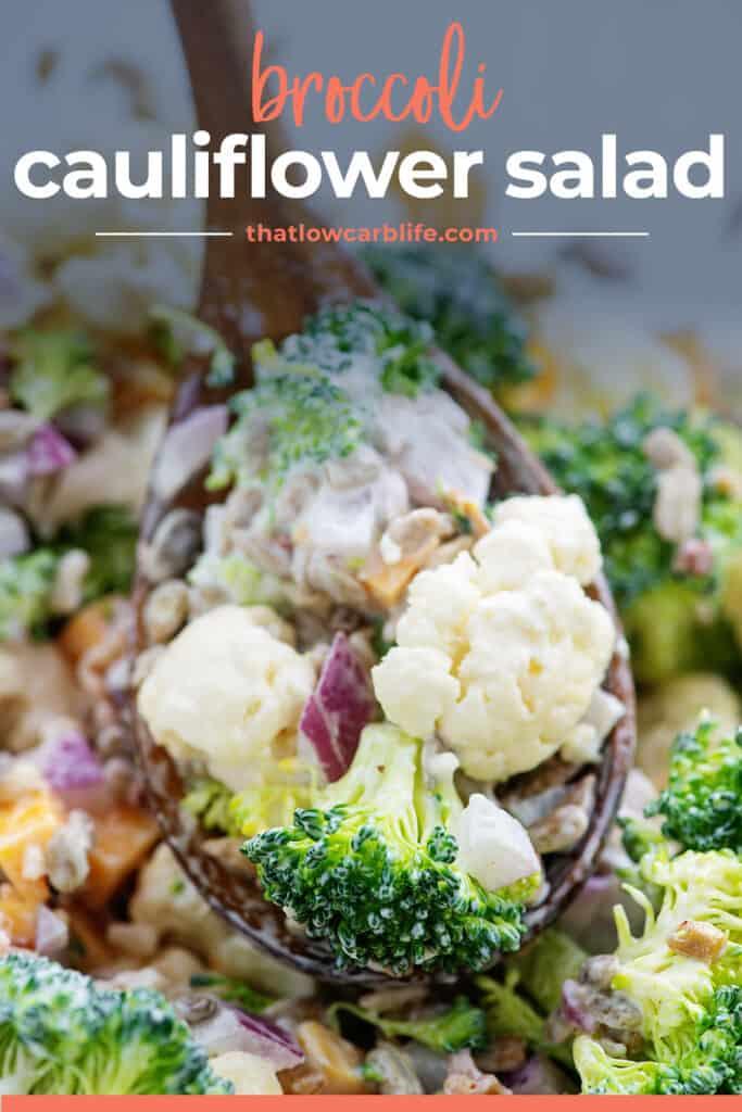 broccoli salad on spoon.