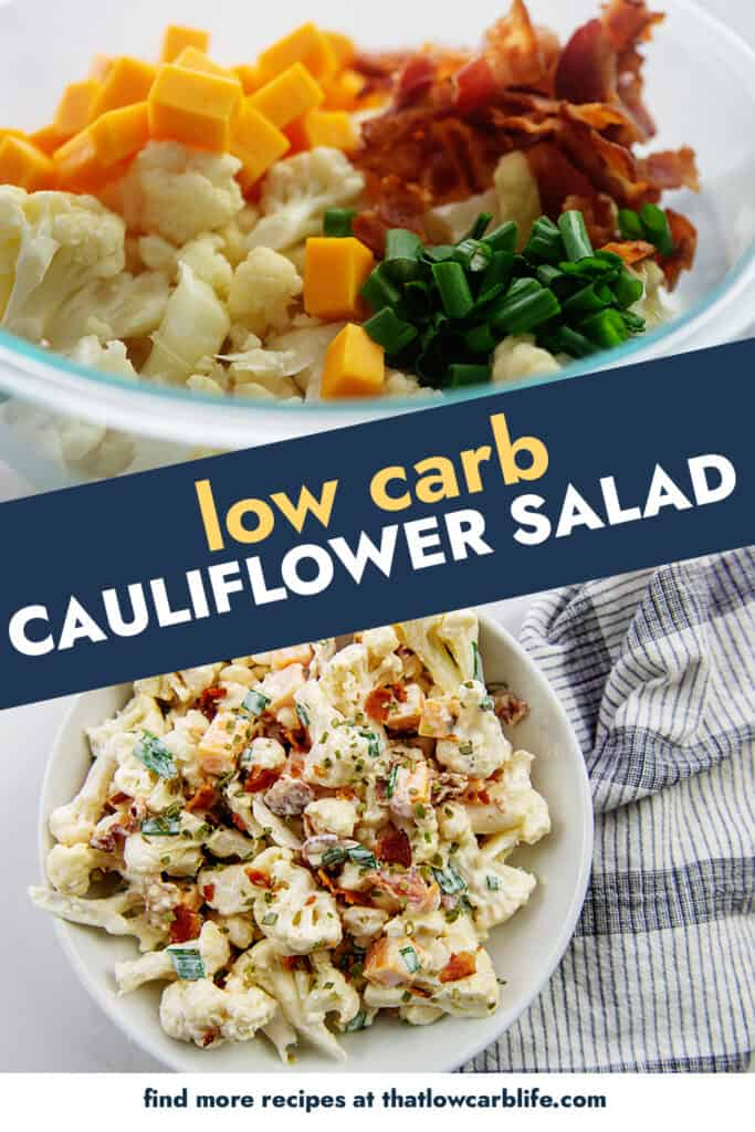 collage of cauliflower salad images.
