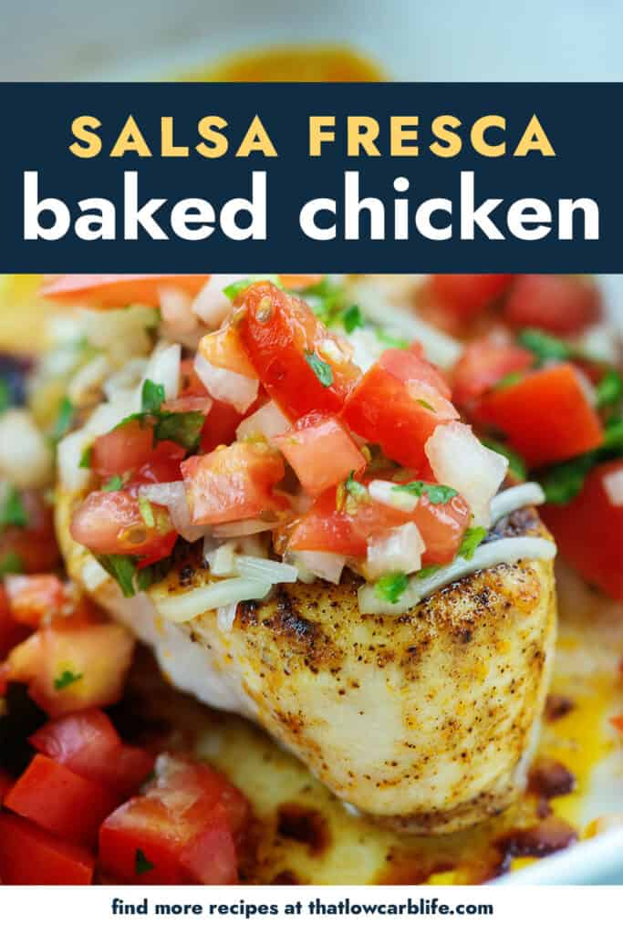 baked chicken breasts topped with pico de gallo.