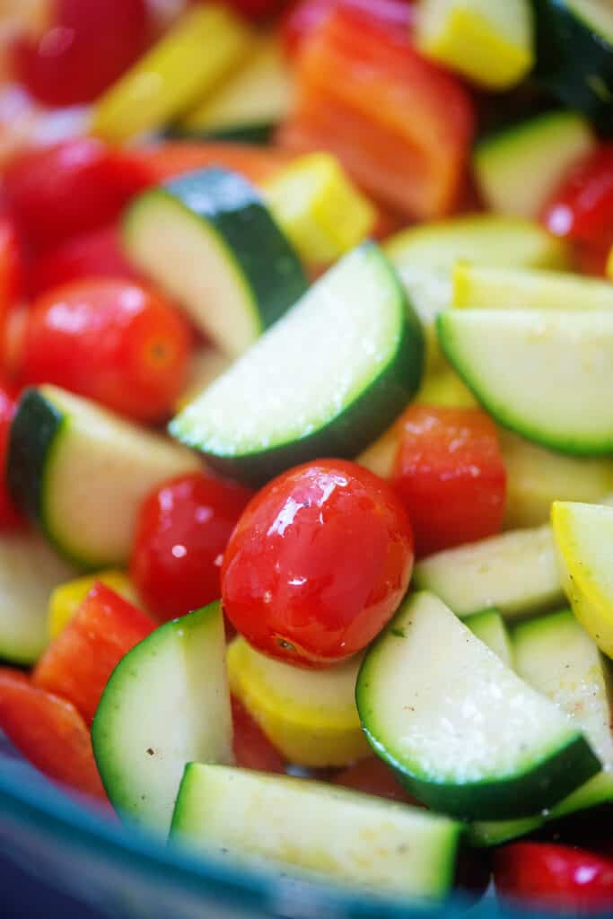 mixed vegetables seasoned with salt and pepper.