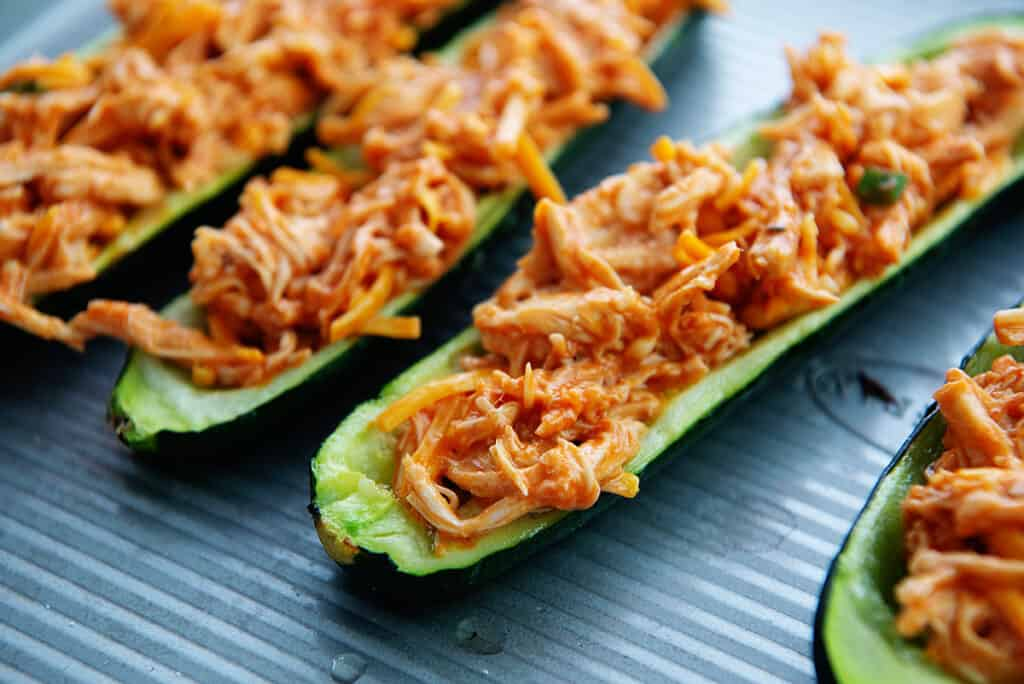 zucchini boats filled with buffalo chicken.