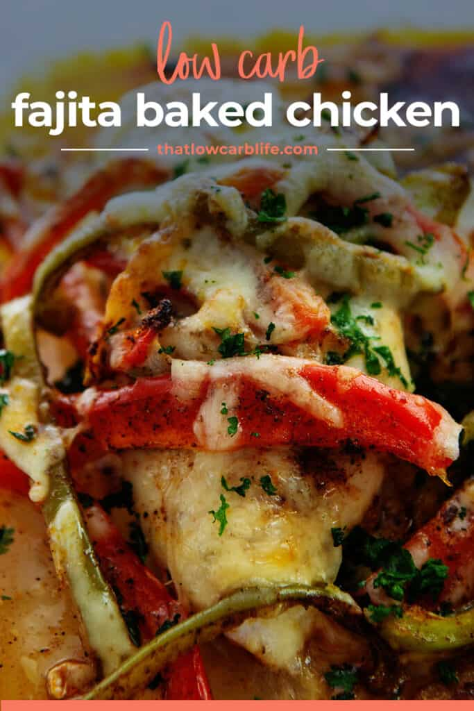 baked chicken topped with cheese and fajita veggies.