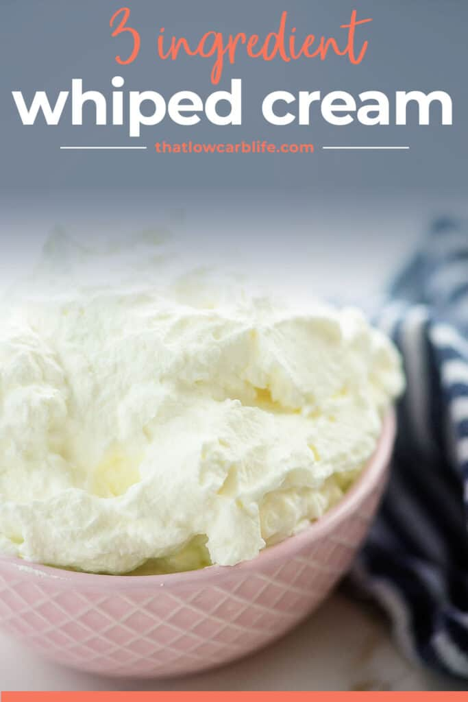 whipped cream recipe in pink bowl.