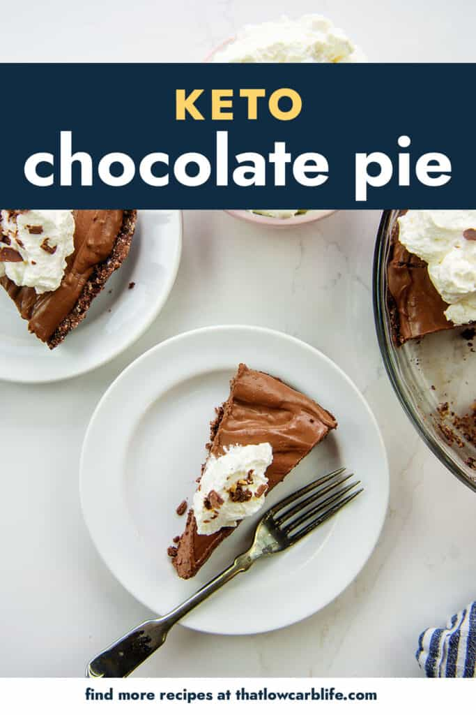 overhead view of chocolate pie on white plates.