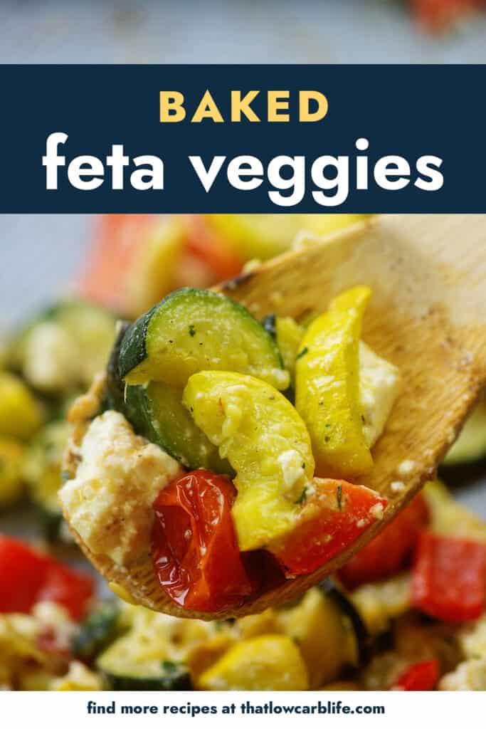 feta roasted vegetables on wooden spoon.