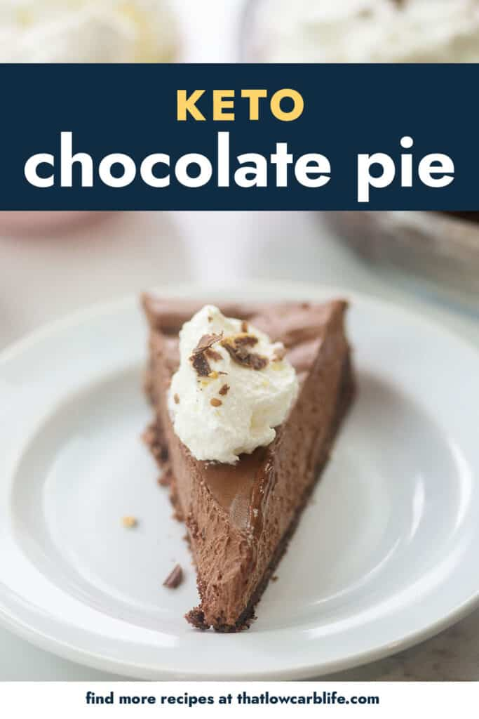 low carb chocolate pie on white plate.