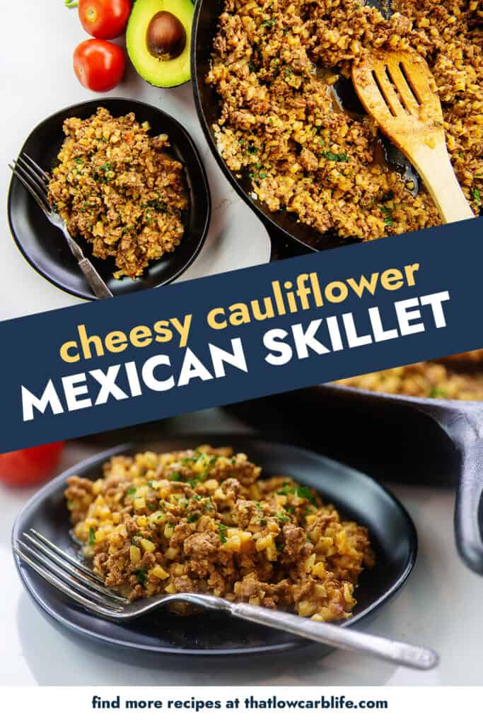 cheesy cauliflower Mexican rice collage for Pinterest.