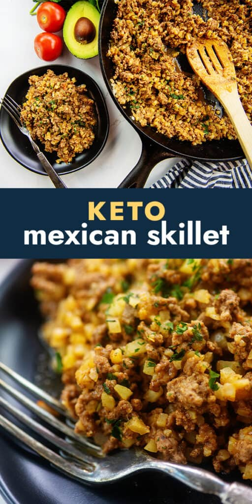 collage of keto taco skillet recipe for Pinterest.