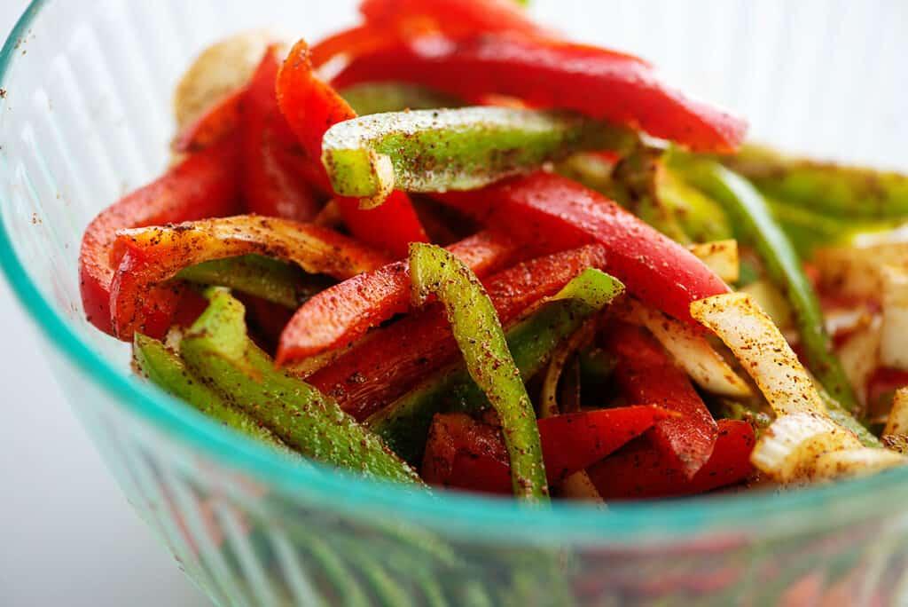 vegetables seasoned with fajita seasoning.