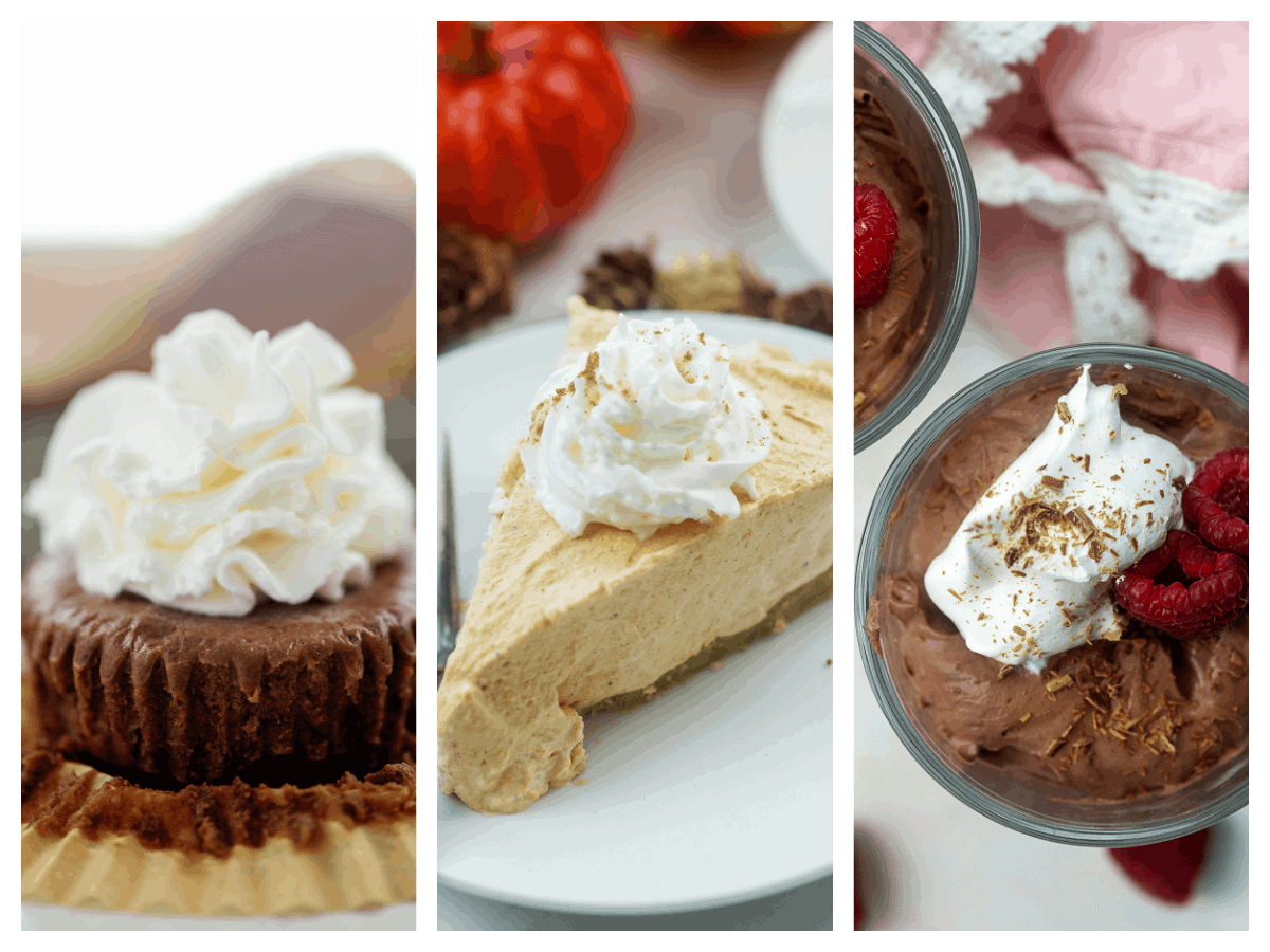 collage of recipes using whipped cream.