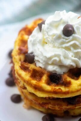 Chocolate chip chaffles with whipped cream