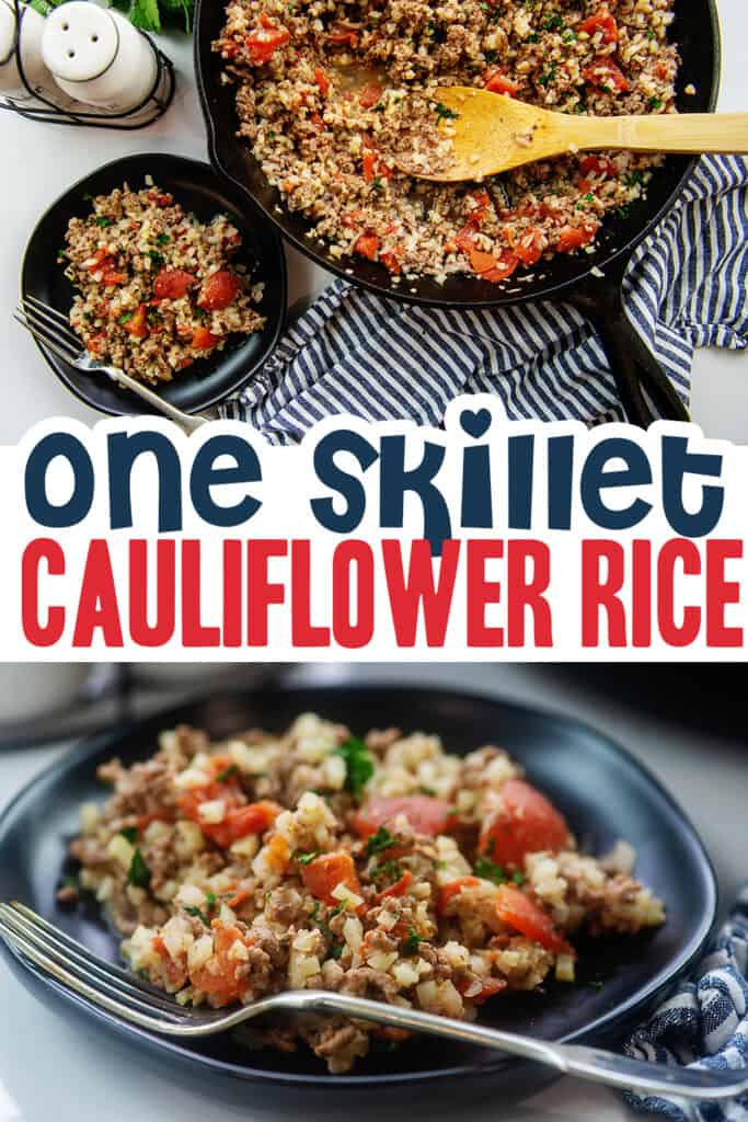 collage of cauliflower rice images for Pinterest.