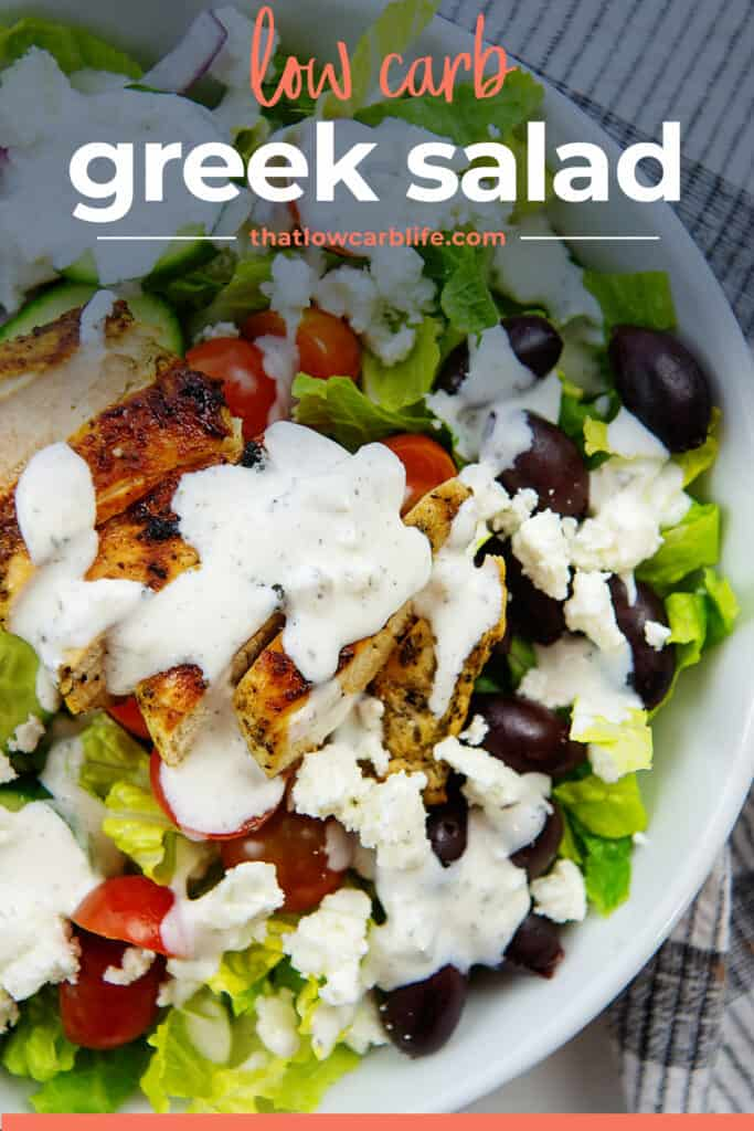 greek salad in bowl with text for Pinterest.
