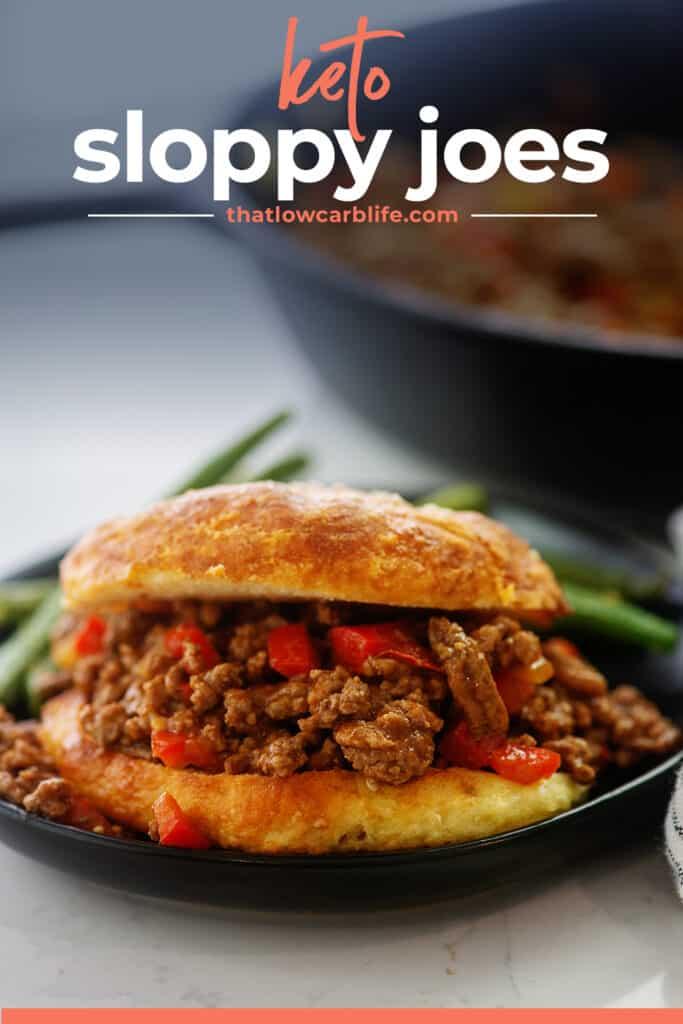 sloppy joe recipe on low carb bun on black plate.