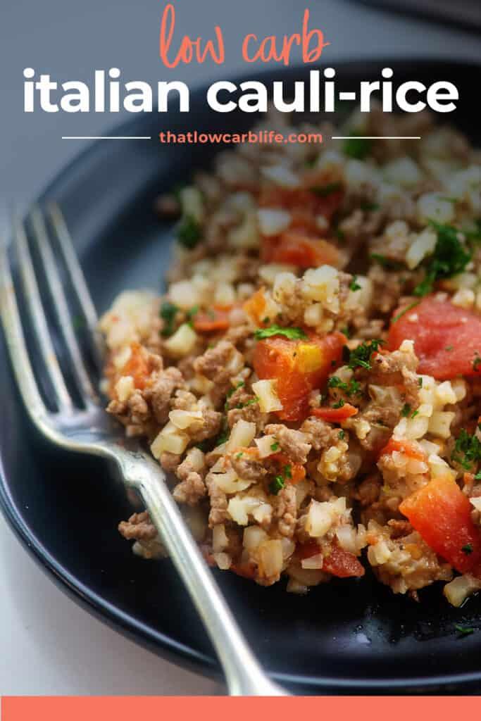 cauliflower rice recipe on black plate.