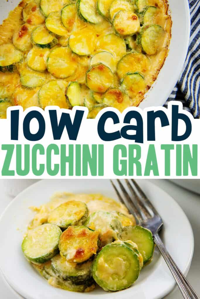 collage of cheesy zucchini images with text for pinterest.