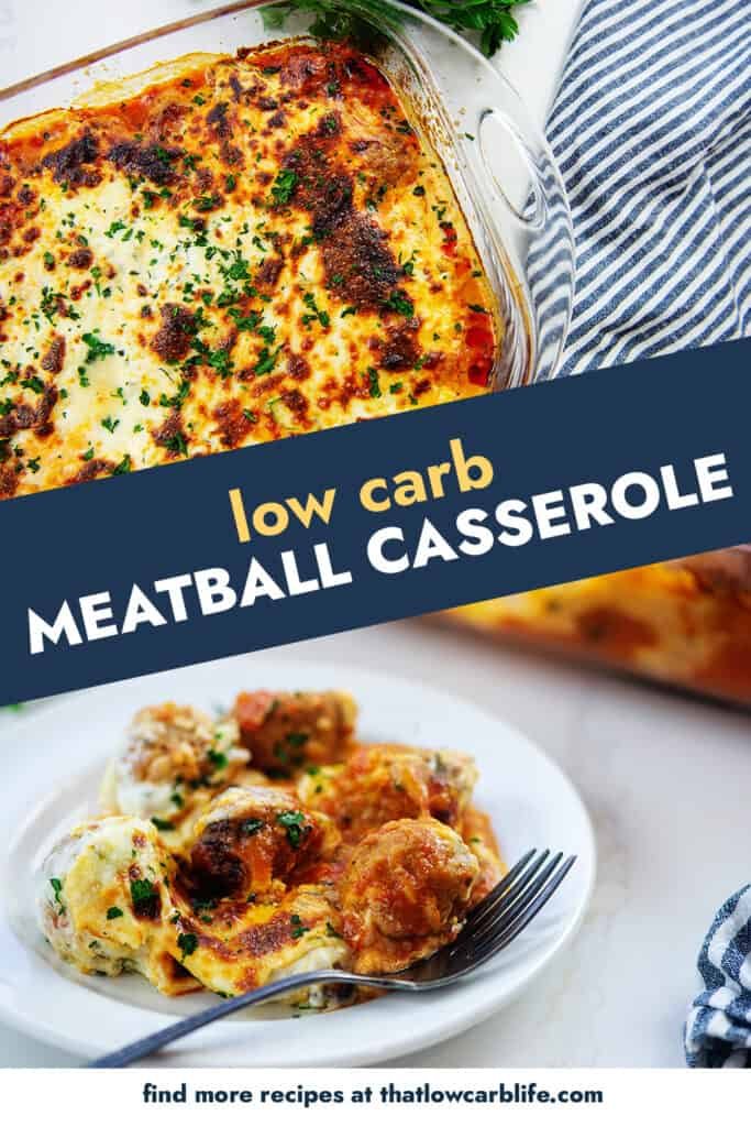 collage of meatball casserole images.