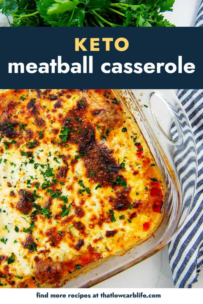 overhead view of meatball casserole in glass baking dish.