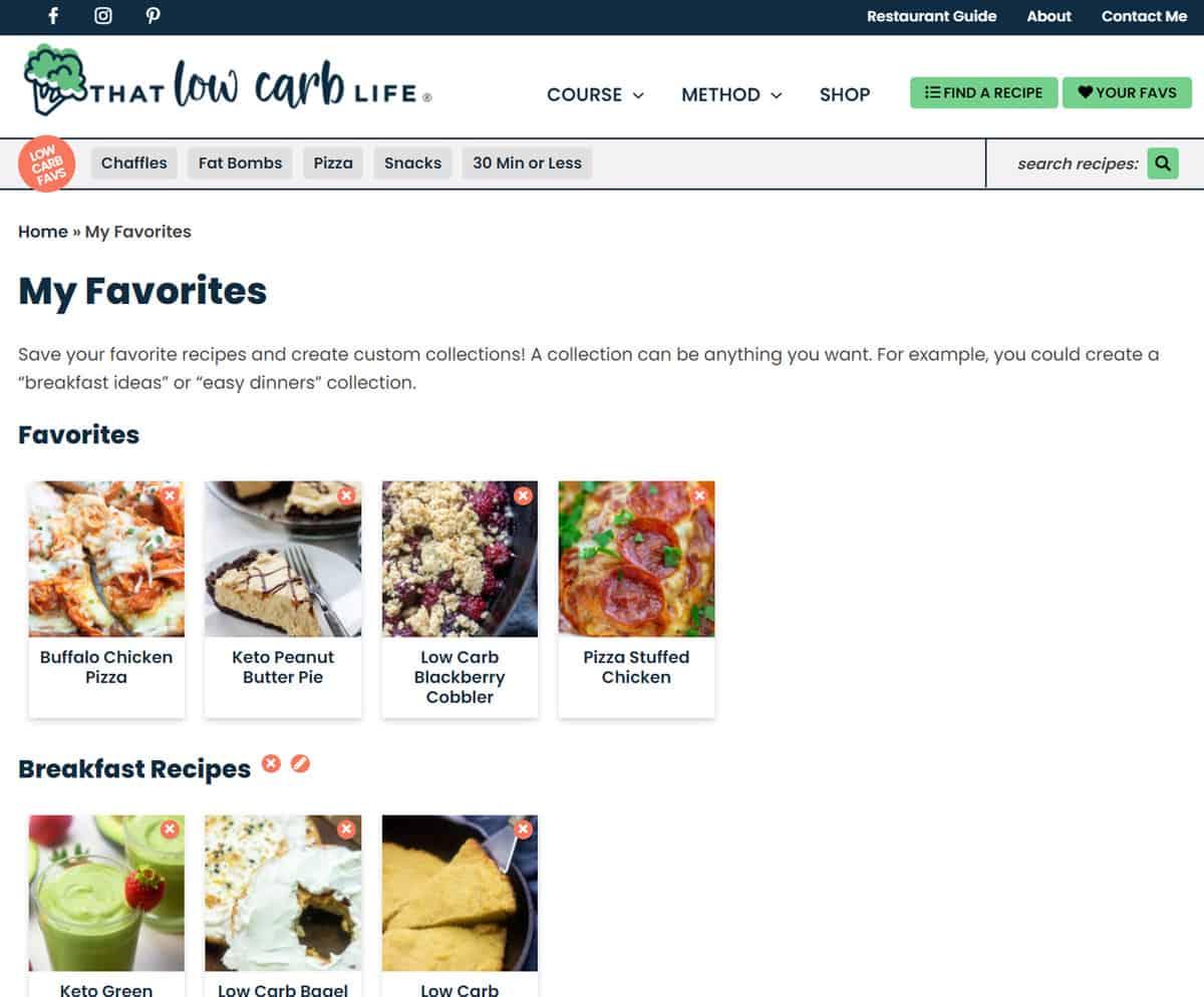 screenshot of favorites area.