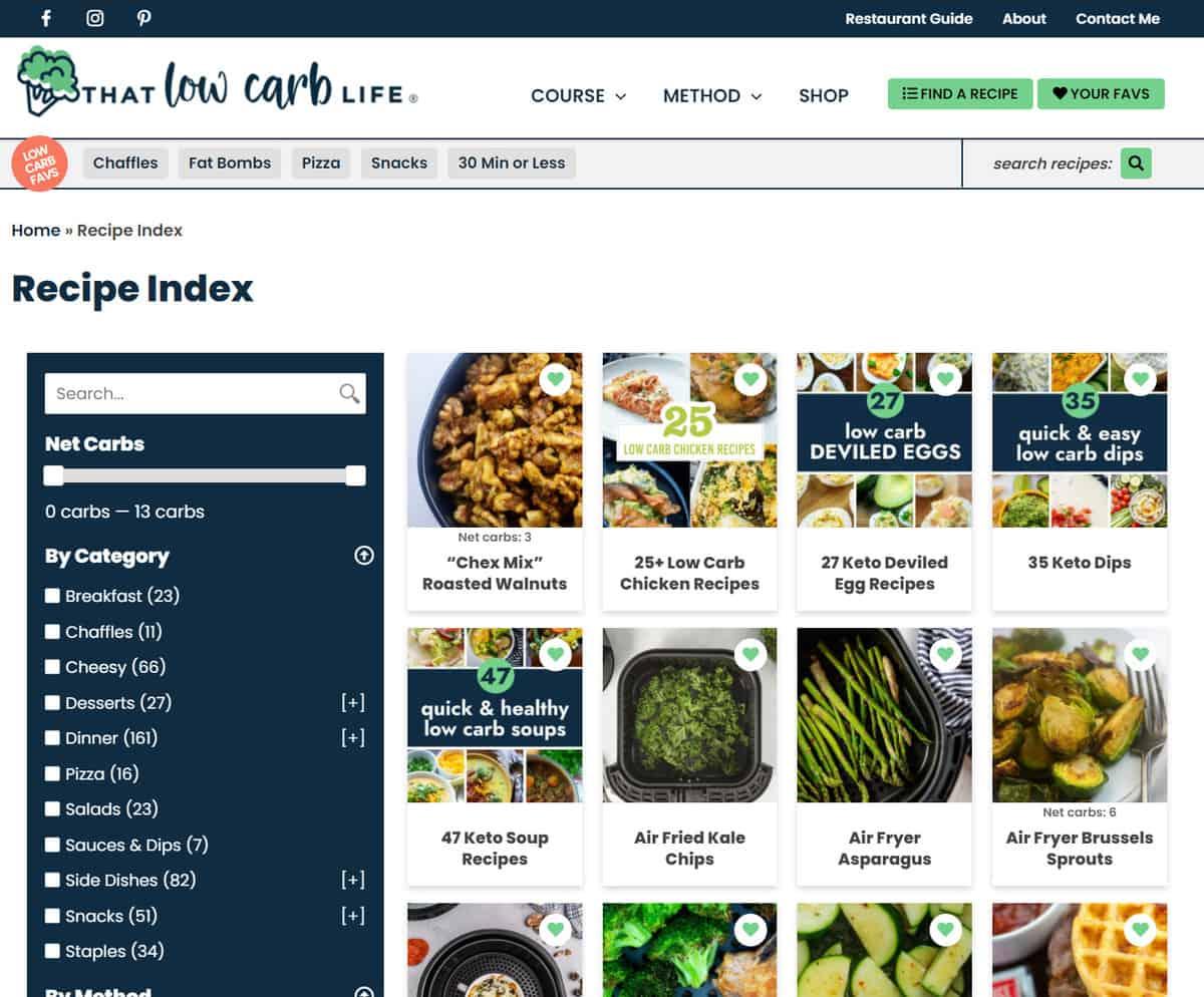 recipe index on thatlowcarblife.com