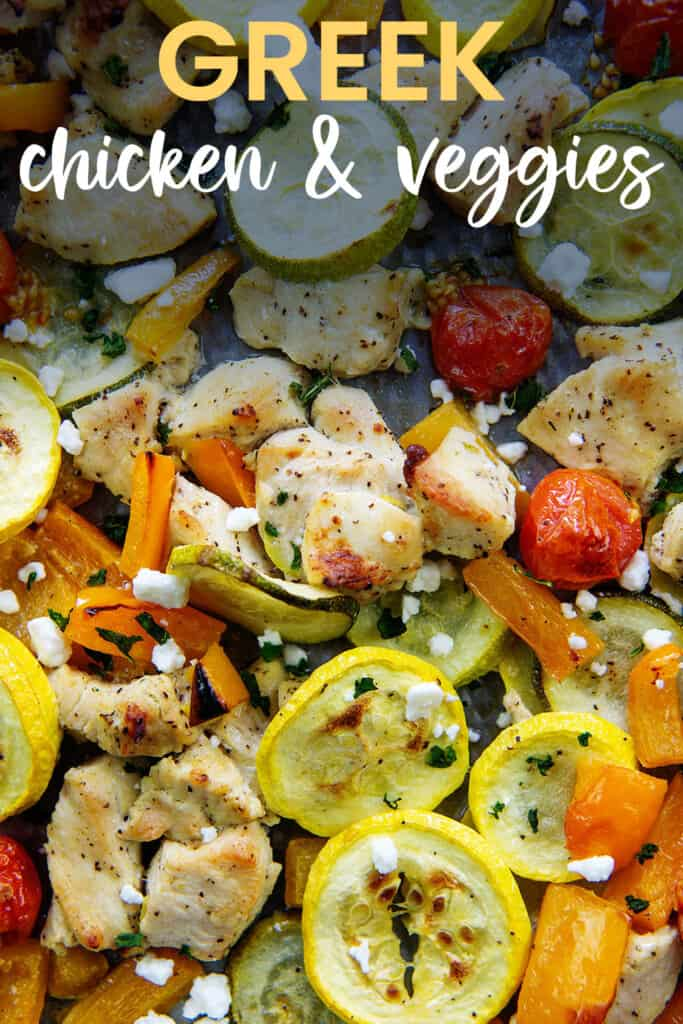 Greek chicken and vegetables on sheet pan.