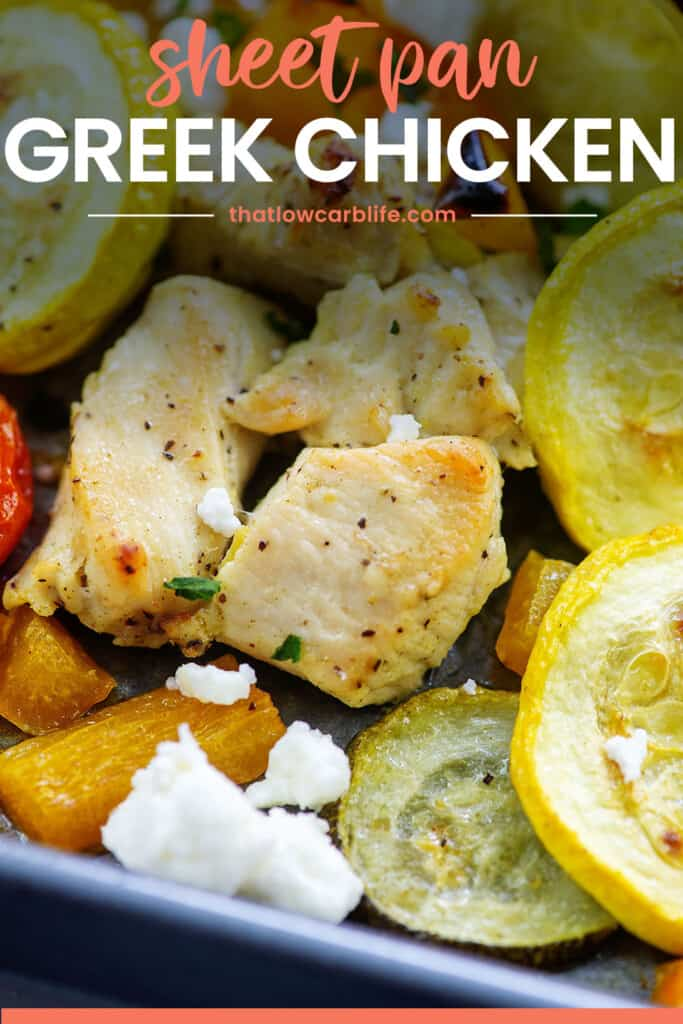 close up of chicken and vegetables on sheet pan.