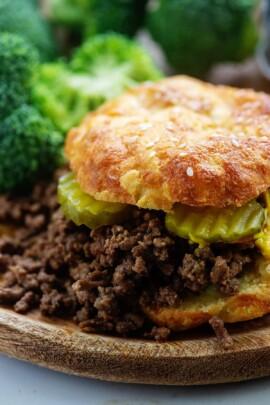 keto maid rite burgers on a low carb bun.