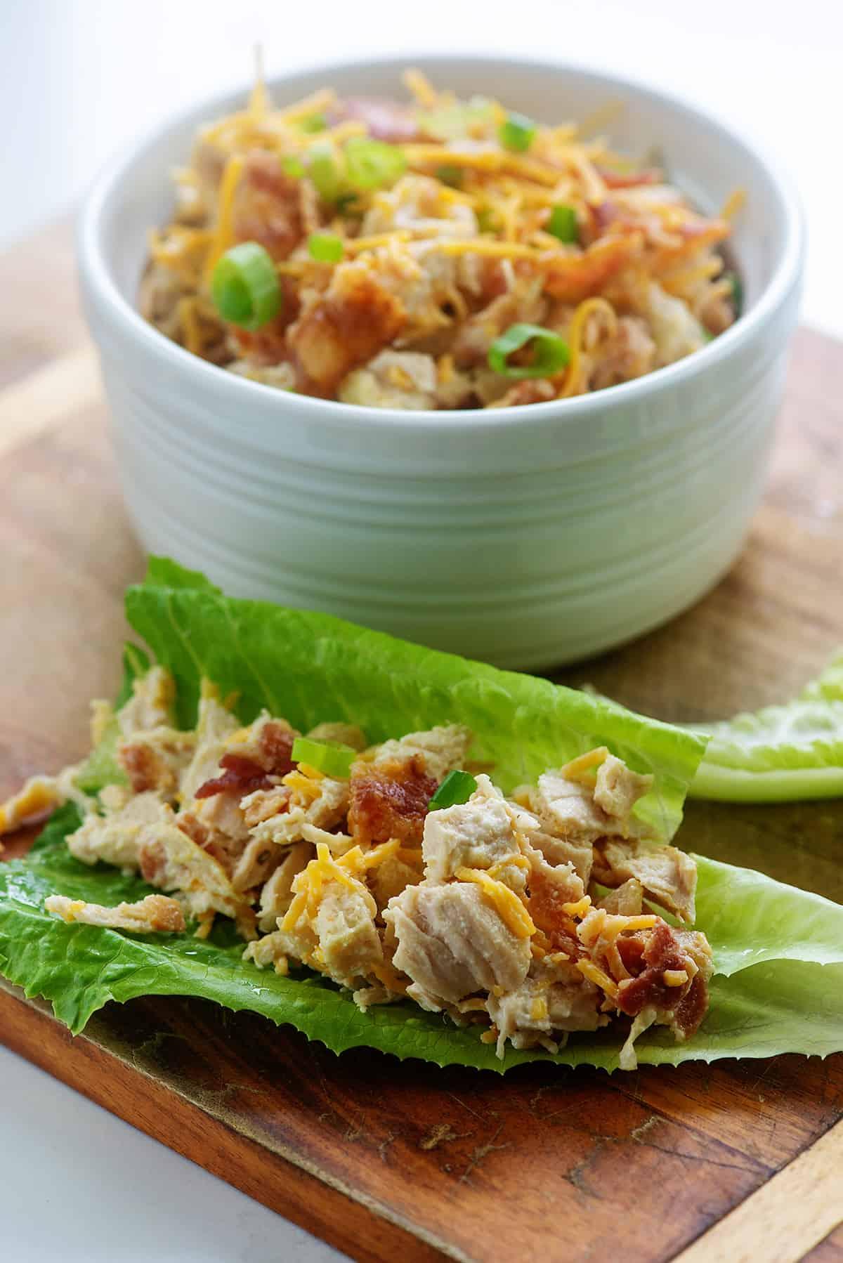 chicken salad in lettuce wrap.