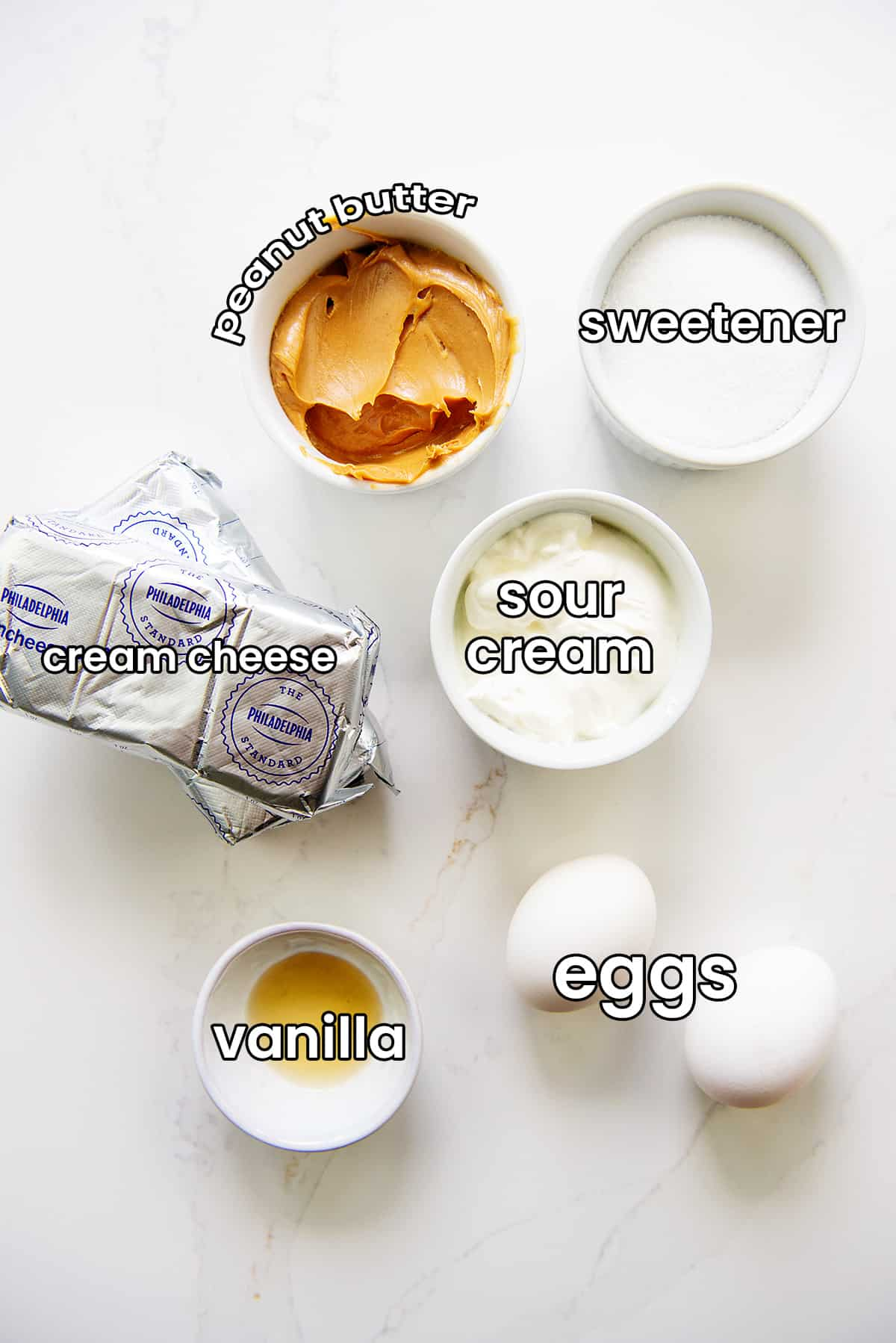 ingredients for keto peanut butter cheesecake.