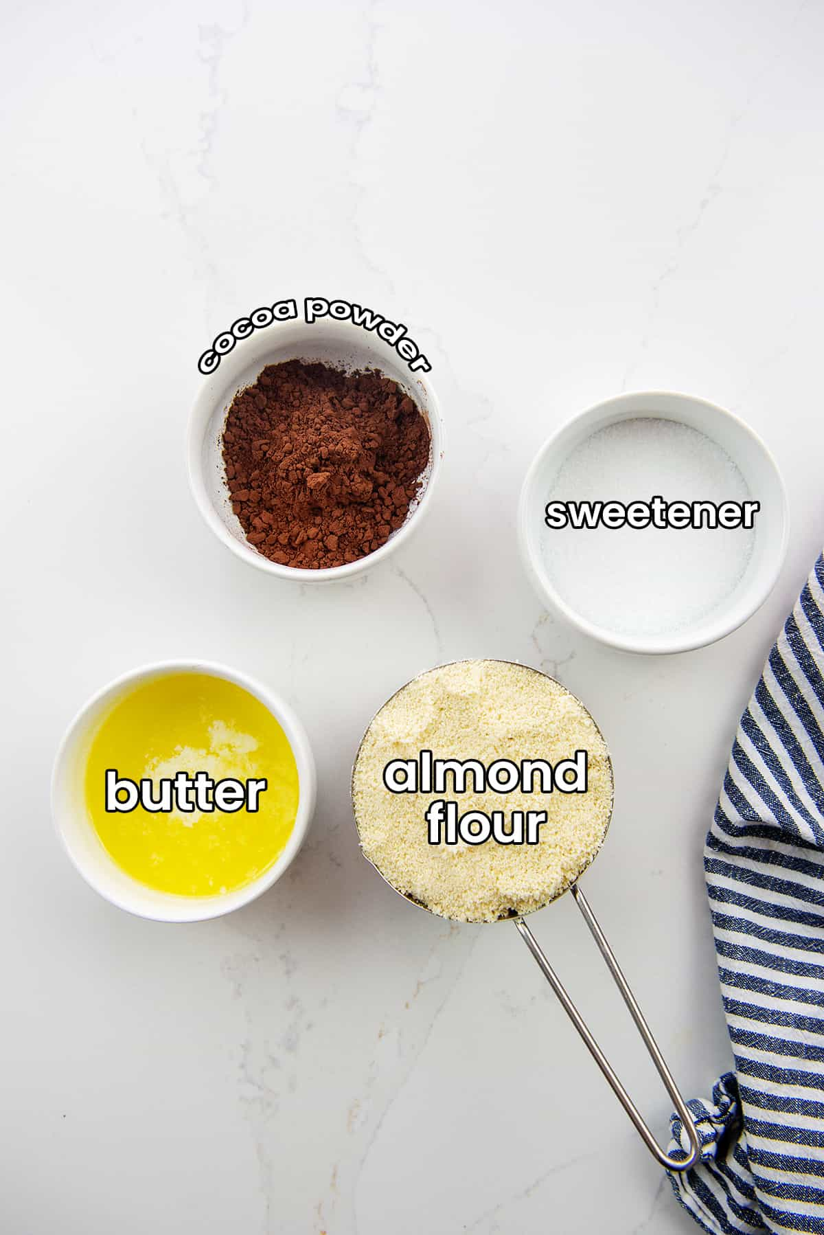 ingredients for keto chocolate crust.
