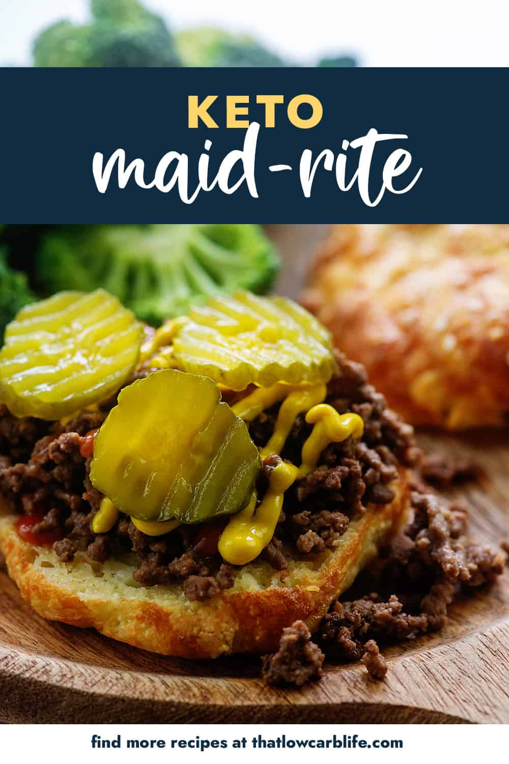 keto maid-rite burger topped with pickles and mustard.