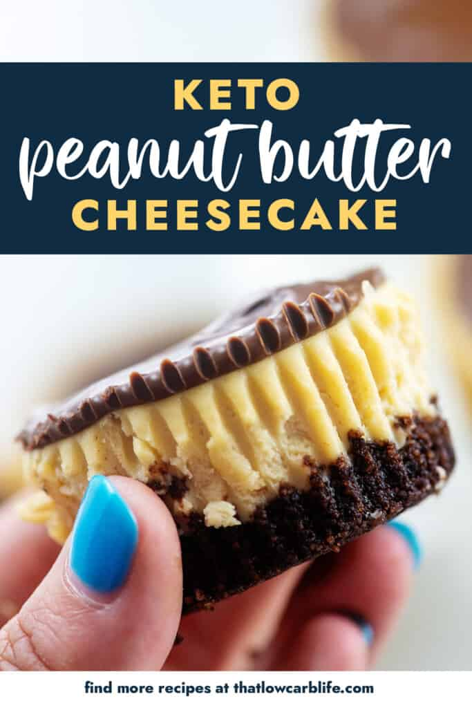 hand holding a mini cheesecake with text for Pinterest.