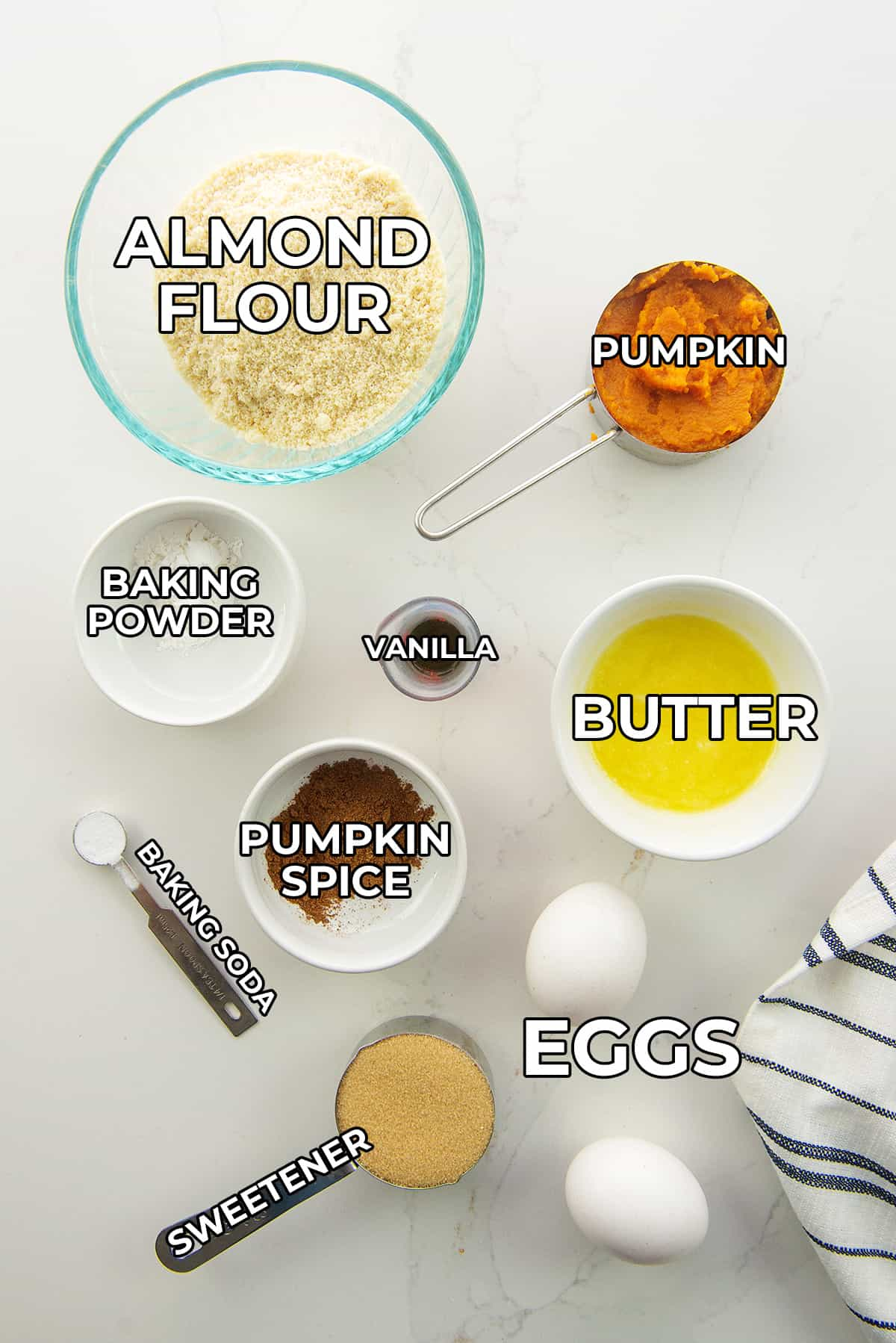 ingredients for keto pumpkin bars with text labels.
