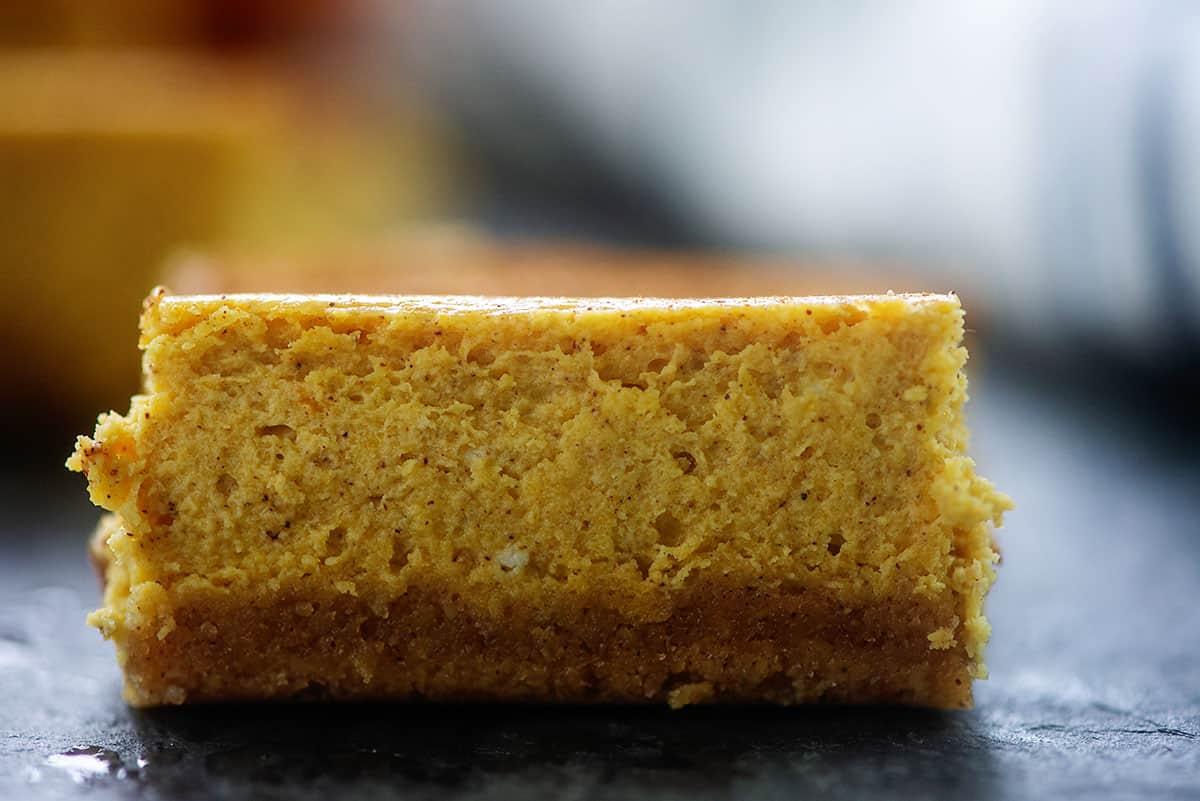 creamy pumpkin cheesecake bar.