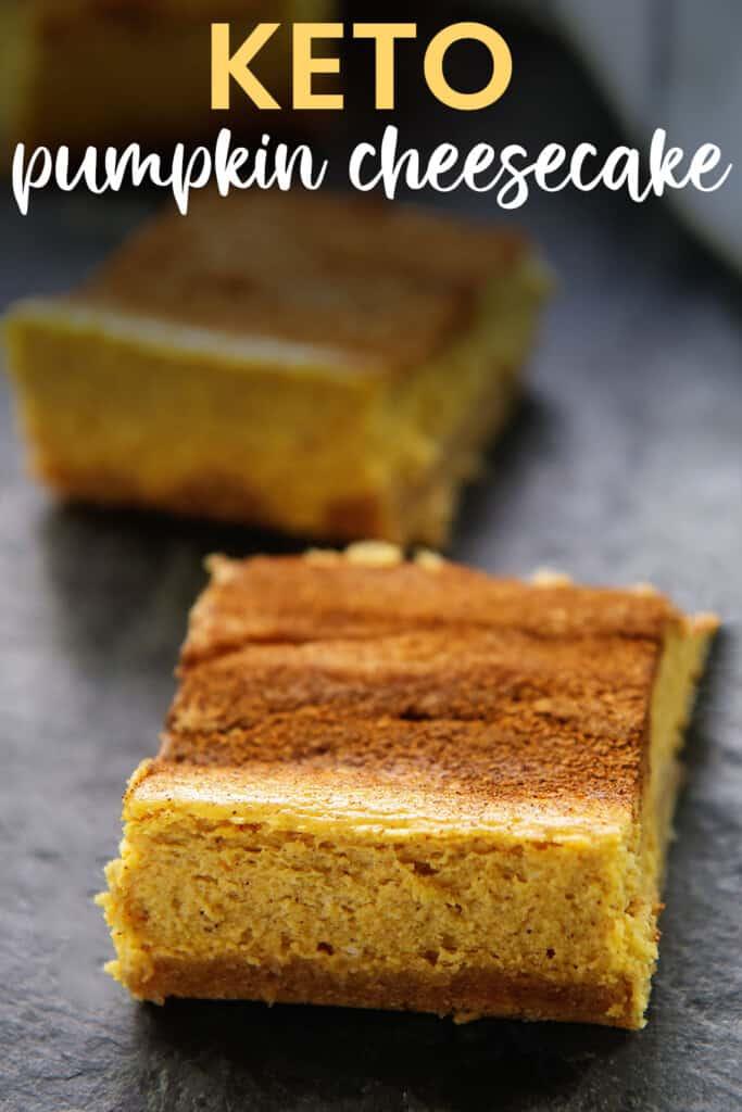 slices of pumpkin cheesecake bars.