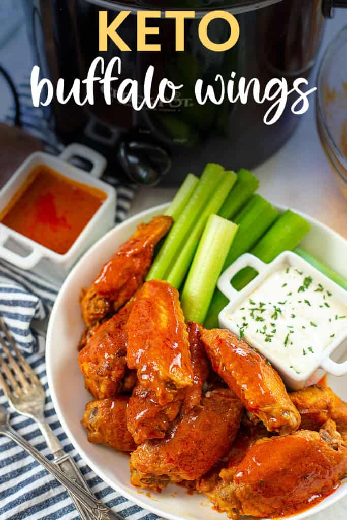 keto buffalo wings on white plate with text for PInterest.