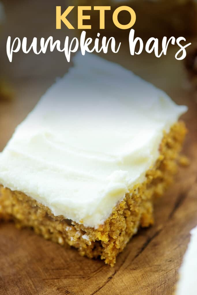 frosted pumpkin bar with text for PInterest.