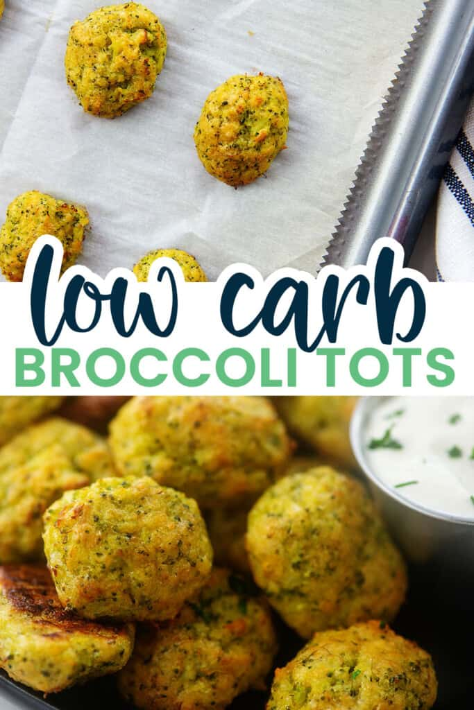collage of broccoli tots images.