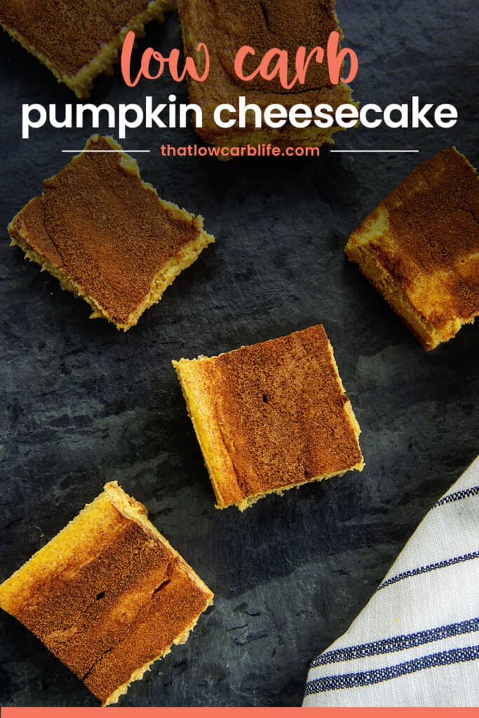 overhead view of cheesecake bars with text for Pinterest.