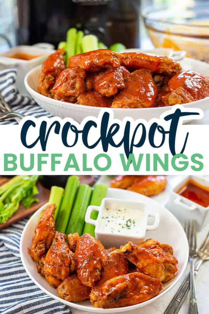 collage of crockpot buffalo wings.