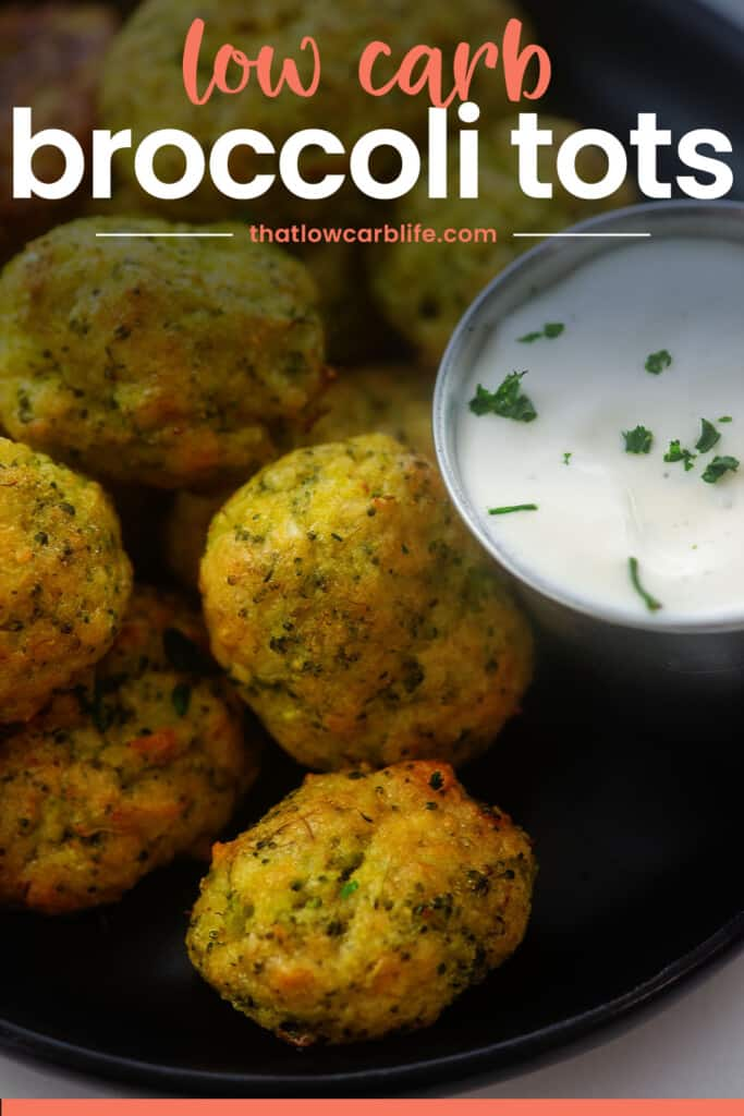 pile of broccoli cheddar tots with text for pinterest.
