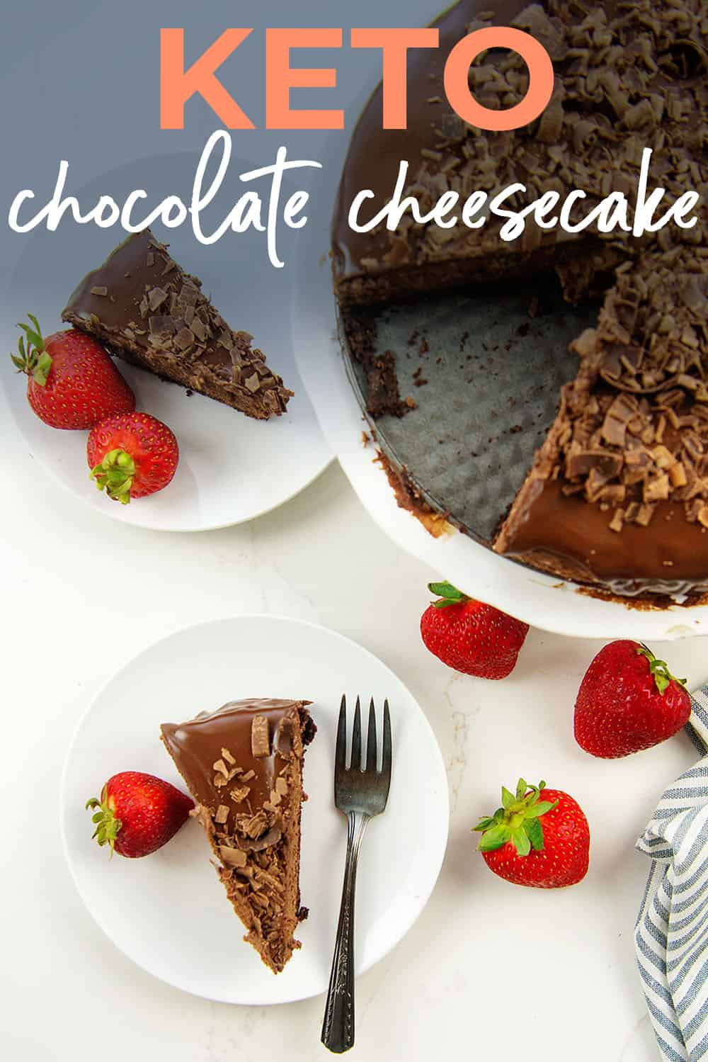 sliced chocolate cheesecake on white plates with text for Pinterest.