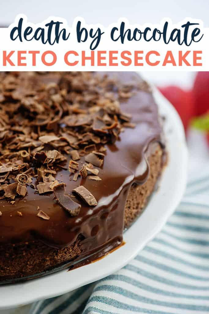 chocolate cheesecake on white cake stand.