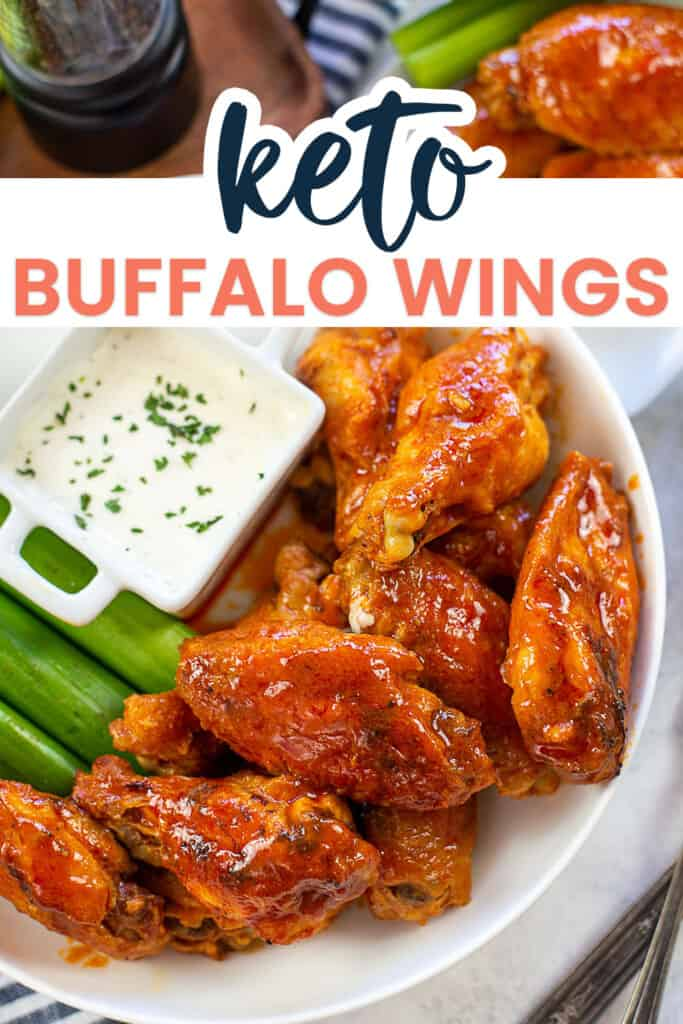 low carb buffalo wings on white plate with text for PInterest.
